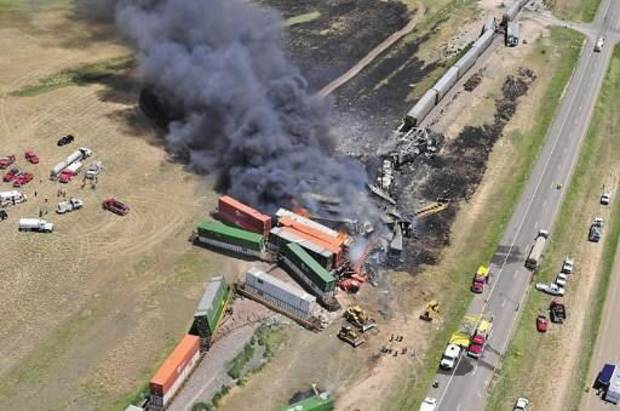 Aerial view of the site of a head-on crash of two freight trains near Goodwell Sunday that killed three people.The Guymon Daily Herald courtesy of Marit Edwards