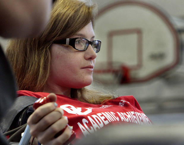 Freshman Brittany Kipp, of Oklahoma City, gives blood during this week�s Bedlam Blood Battle on the Norman campus.