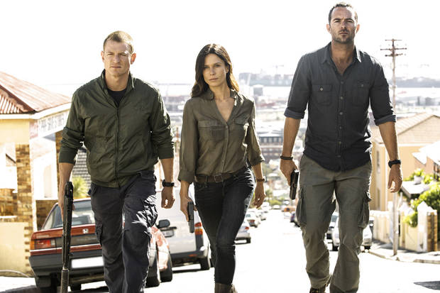 "From left, Philip Winchester, Rhona Mitra and Sullivan Stapleton of ""Strike Back"" -"
