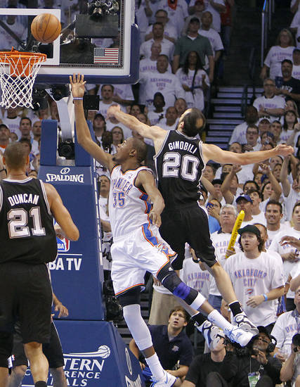 Oklahoma City's Kevin Durant (35) drives past San Antonio's Manu Ginobili (20) during Game 6 of the Western Conference Finals between the Oklahoma City Thunder and the San Antonio Spurs in the NBA playoffs at the Chesapeake Energy Arena in Oklahoma City, Wednesday, June 6, 2012. Photo by Chris Landsberger, The Oklahoman