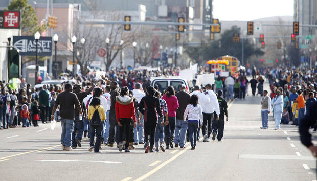 The Martin Luther King Jr. Day Parade makes its way down Broadway in this January 18, 2010, photo. <strong>Steve Gooch - The Oklahoman</strong>