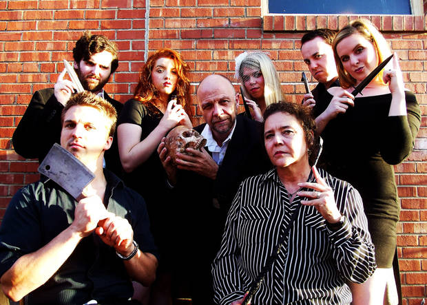 "Reduxion Theatre Company's cast of ""Night of the Grand Guignol"" includes (second row, from left) Tyler Waits, Rachael Barry, David Fletcher-Hall, Katie Barnett, Ian Clinton, Susan Riley; (first row) Jeremy Lister and Sue Ellen Reiman. PHOTO PROVIDED <strong>PROVIDED</strong>"