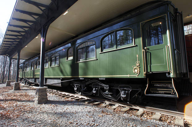 This Monday, Nov. 19, 2012 photo shows the Pullman car owned by Robert Todd Lincoln at the Robert Todd Lincoln mansion Hildene in Manchester, Vt. The Georgian Revival home was built in 1905 by Robert Todd Lincoln, the only one of the president's four children to survive to adulthood. (AP Photo/Toby Talbot)