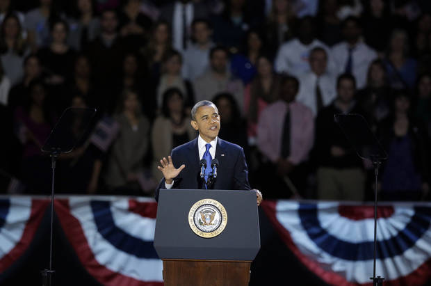 President Barack Obama speaks at his election night party Wednesday, Nov. 7, 2012, in Chicago. President Obama defeated Republican challenger former Massachusetts Gov. Mitt Romney. (AP Photo/Chris Carlson)