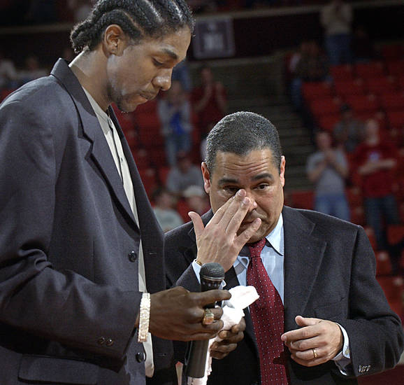 Oklahoma Sooner #21 Jabahri Brown address the crowd after the Baylor game Saturday and apologized for his actions, OU coach Kelvin Sampson reacts to Jabahri after handing him the microphone in Norman. Oklahoman staff photo by Ty Russell.