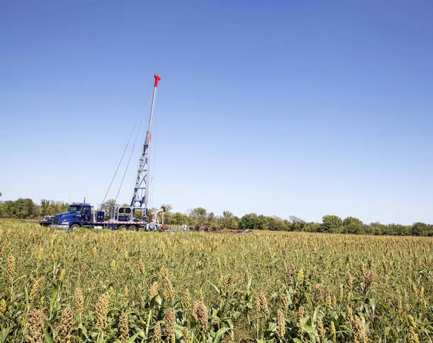 A PostRock Energy Corp. pulling unit works near Chanute, Kan. <strong> - provided</strong>