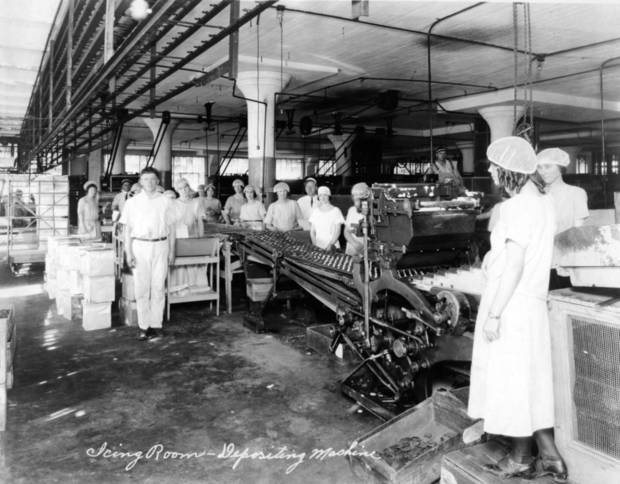 OKLAHOMA CITY BUILDINGS / ICING ROOM / DEPOSITING MACHINE: Iten Biscuit Co.