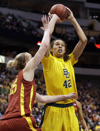 Iowa State center Anna Prins (55) defends as Baylor center Brittney Griner (42) shoots in the first half of their NCAA college basketball championship game in the Big 12 Conference tournament, Monday, March 11, 2013, in Dallas. (AP Photo/Tony Gutierrez)