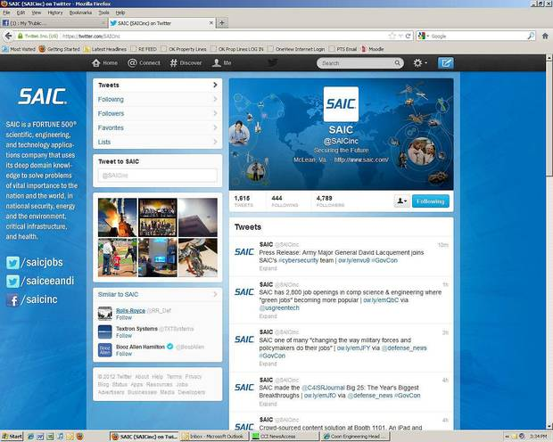 SAIC�s Twitter profile page. SAIC uses social media to promote its work and its individual specialists�.