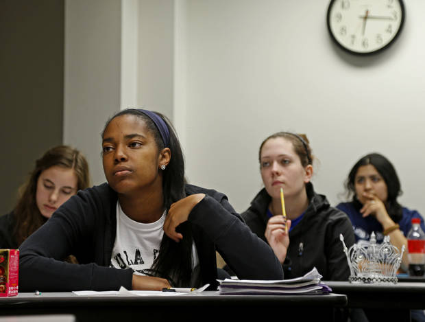 Freshman Barbara Jackson listens during a Fundamentals of Speech hybrid course at the University of Central Oklahoma.