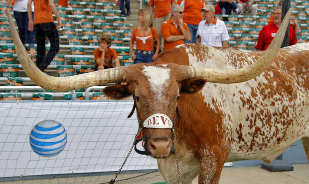 The Texas Longhorn Bevo during the Red River Rivalry college football game between the University of Oklahoma (OU) and the University of Texas (UT) at the Cotton Bowl in Dallas, Saturday, Oct. 13, 2012. Photo by Chris Landsberger, The Oklahoman