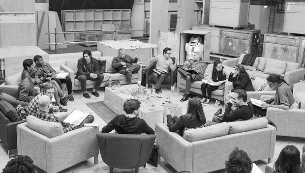 Pinewood Studios, UK - Writer/Director/Producer J.J Abrams (top center right) at the cast read-through of Star Wars Episode VII at Pinewood Studios with (clockwise from right) Harrison Ford, Daisy Ridley, Carrie Fisher, Peter Mayhew, Producer Bryan Burk, Lucasfilm President and Producer Kathleen Kennedy, Domhnall Gleeson, Anthony Daniels, Mark Hamill, Andy Serkis, Oscar Isaac, John Boyega, Adam Driver and Writer Lawrence Kasdan. Photo Credit: David James.