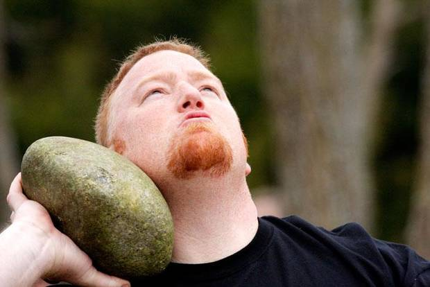 Christopher Jones, Beggs, Okla. competes in the stone put for distance at the Iron Thistle Scottish Heritage Festival and Highland Games at the Kirkpatrick Family Farm in Yukon Saturday March 21, 2009. Photo by Doug Hoke, The Oklahoman