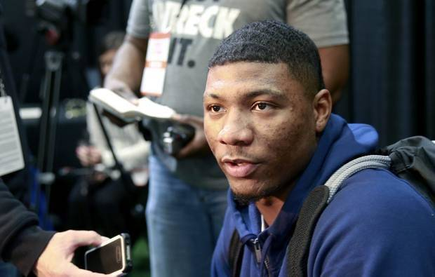 Marcus Smart from Oklahoma State talks to reporters at the 2014 NBA basketball Draft Combine on May 15 in Chicago. (AP Photo/Charles Rex Arbogast)