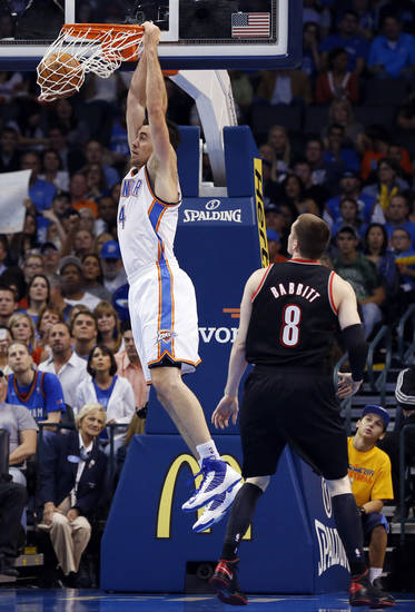 Oklahoma City Thunder's Nick Collison (4) scores as the Oklahoma City Thunder defeat the Portland Trail Blazers 106-92 in NBA basketball at the Chesapeake Energy Arena in Oklahoma City, on Friday, Nov. 2, 2012.  Photo by Steve Sisney, The Oklahoman