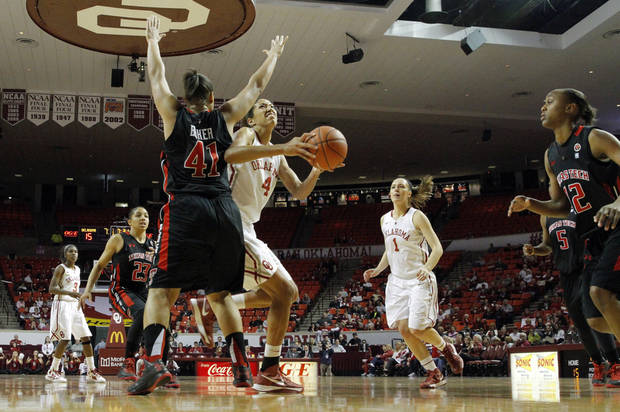 Oklahoma Sooner's Nicole Griffin (4) drives around Tech's Kelsi Baker (41) as the University of Oklahoma Sooners (OU) play the Texas Tech Lady Red Raiders in NCAA, women's college basketball at The Lloyd Noble Center on Saturday, Jan. 12, 2013 in Norman, Okla. Photo by Steve Sisney, The Oklahoman