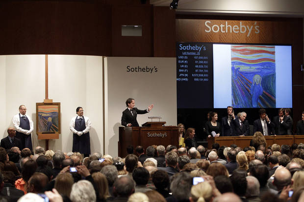 "Edvard Munch's ""The Scream"" is auctioned at Sotheby's Wednesday, May 2, 2012, in New York. The image is one of four versions created by the Norwegian expressionist painter. Three are in Norwegian museums. The one at the Sotheby's auction is the only one left in private hands. It is being sold by Norwegian businessman Petter Olsen, whose father was a friend and patron of the artist. The winning bid was $107 Million. The hammer price was $107 Million with the buyers premium is $119,922, 500. (AP Photo/Frank Franklin II)"