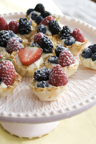 In this image taken on March 4, 2013, creamy lemon-berry tartlets are shown served on a dessert stand in Concord, N.H. (AP Photo/Matthew Mead) ORG XMIT: NYLS151