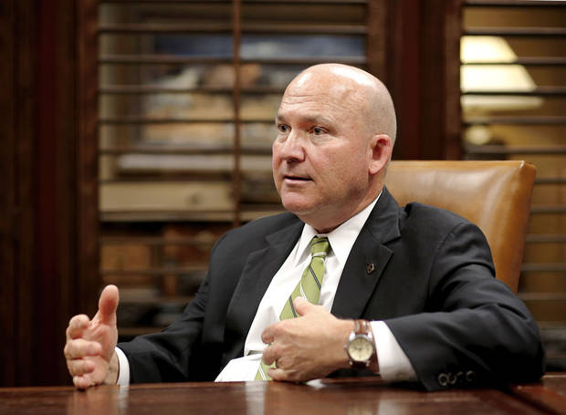 Mark Funke, CEO of Southwest Bancorp, discusses his career. Photo by James Beckel, The Oklahoman <strong></strong>