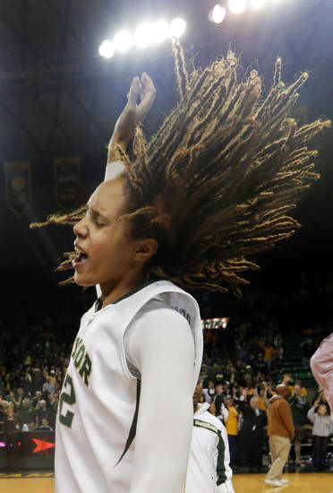 Baylor's Brittney Griner celebrates after their 82-65 win over Oklahoma in an NCAA college basketball game, Saturday, Jan. 26, 2013, in Waco Texas. Griner broke the NCAA women's career record for blocks in the game. (AP Photo/LM Otero) ORG XMIT: TXMO114