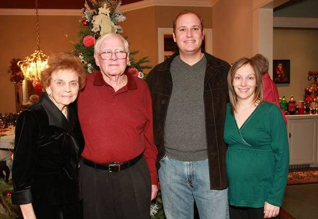 Shirley and Mac Dunning and Ford and Angie Sanger were at the party in the home of Marylee and Tim Strange. (Photo by David Faytinger).