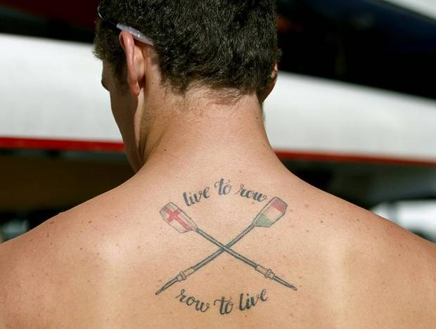ROWERS / ROWING: Oliver Salowna, of the Dallas Rowing Club, shows off his &quot;live to row, row to live,&quot; tattoo during the 2011 Head of the Oklahoma Regatta at the Oklahoma River in Oklahoma City on Sunday, October 2, 2011. Photo by John Clanton, The Oklahoman ORG XMIT: KOD