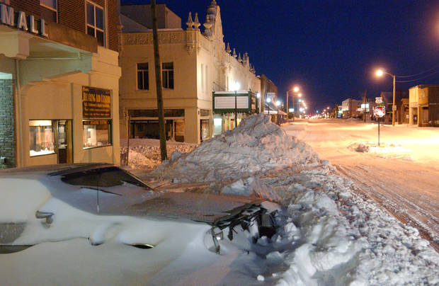 The scene before sunrise Wednesday of Main Street in Miami, OK - Photo by Gary Crow