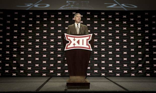 Big 12 commissioner Bob Bowlsby speaks to the media Monday in Dallas. (AP Photo)