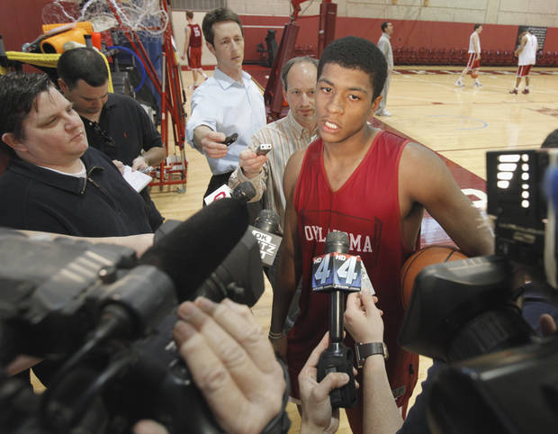 University of Oklahoma (OU) Sooner men's basketball player Carl Blair Jr., talks to the media after the team