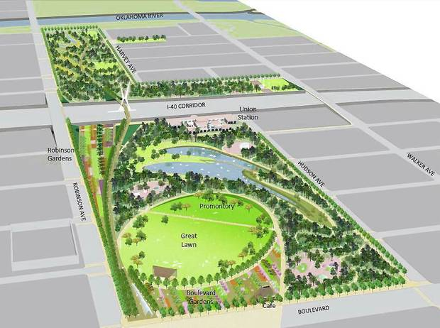 Below: A proposed master plan for the Core to Shore park is shown in this aerial rendering, which looks south from downtown toward the Oklahoma River. PROVIDED BY Hargreaves Associates