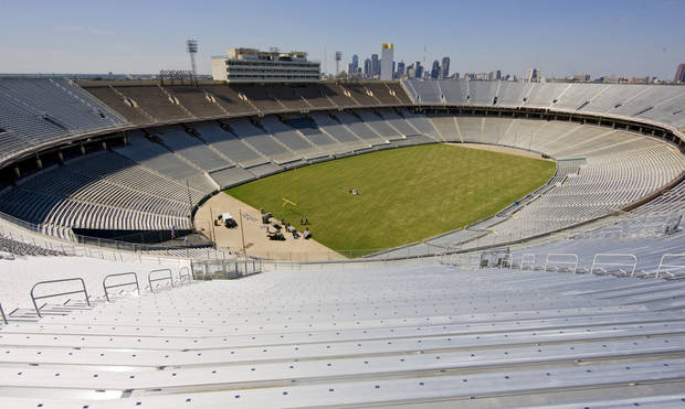Expanded seating on the north and south end zones increased the seating from 76,000 to 92,100 in the Cotton Bowl on display to the media on Wednesday, Sept 17,  2008, in Dallas, Texas.