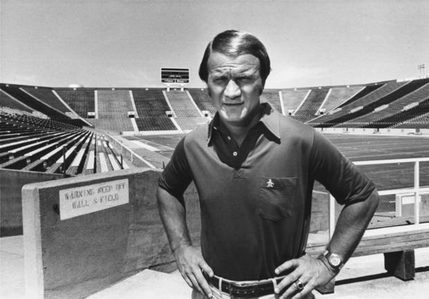 OU head college football coach Barry Switzer in a corner of Owen Field in Norman OK.  Staff photo by Don Tullous taken 8-29-79; photo ran in the 8-30-79 Daily Oklahoman.