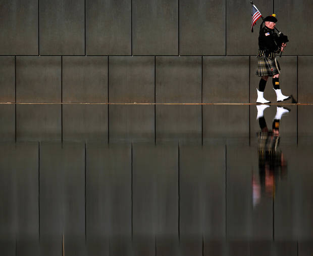 Kevin Donnelly leads the Bagpipe Procession during the 16th Annual Day of Remembrance at the Oklahoma City National Memorial and Museum in Oklahoma City, Oklahoma onTuesday, April 19, 2011. Photo by John Clanton, The Oklahoman