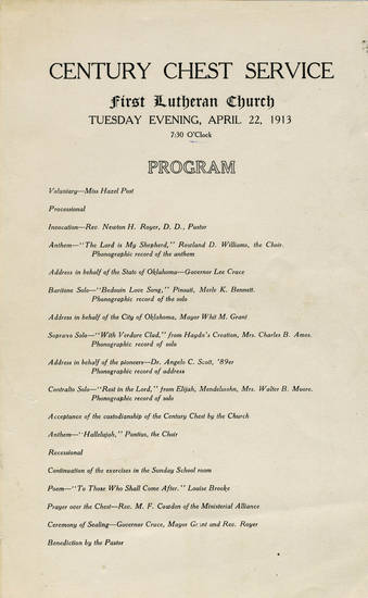 This program outlines the evening service and celebration leading up to the sealing of the Century Chest on April 22, 1913.