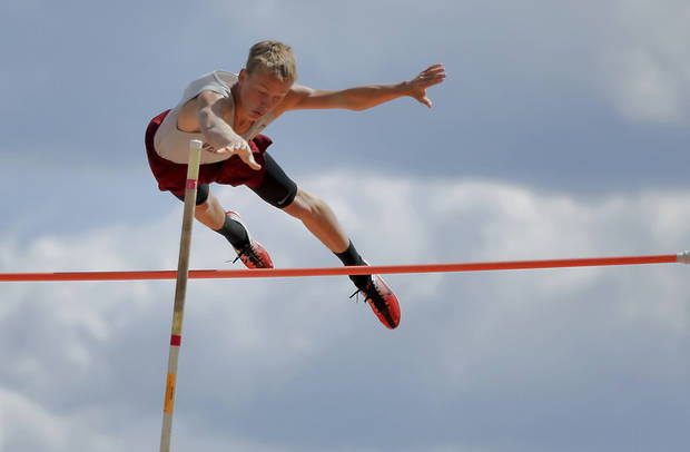 Velma-Alma's Austin Dennis competes in the Class A pole vault during the Class A and 2A state championship track meet at Carl Albert High School on Friday, May 3, 2013, in Midwest City, Okla. Photo by Chris Landsberger, The Oklahoman