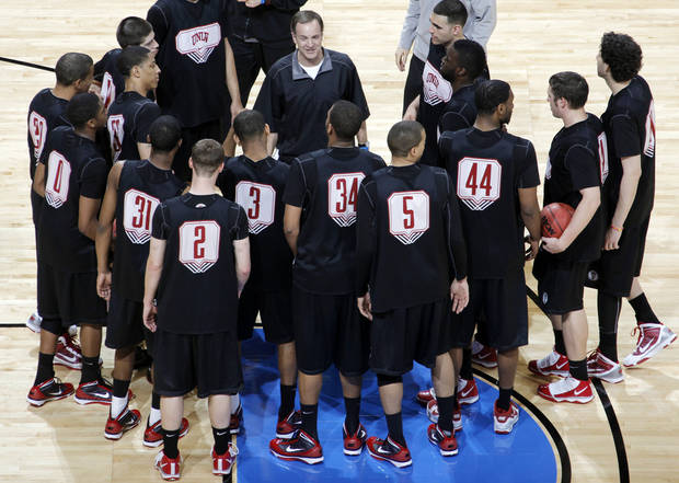 UNLV head coach Lon Kruger talks to his team during the practice and press conference day for the NCAA Men's basketball tournament first and second rounds at the Ford Center in Oklahoma City, Wednesday, March 17, 2010. Photo by Nate Billings, The Oklahoman