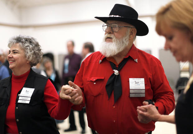 Angel and Bill Baker dance during a Teacup Chains Square Dance Club open house at Peace Lutheran Church, in Edmond. Photo by Sarah Phipps, The Oklahoman <strong>SARAH PHIPPS</strong>