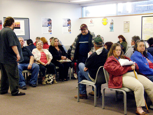 Patients wait at Pottawatomie County�s free medical clinic.