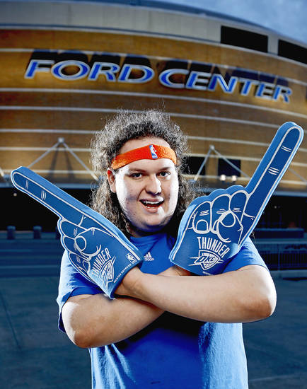 Zeb Benbrook's headband doesn't just appear at the Ford Center. PHOTO BY BRYAN TERRY, THE OKLAHOMAN