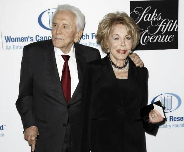 "This April 18, 2012 file photo shows actor Kirk Douglas, left, and his wife Anne Douglas arriving at the Entertainment Industry Foundation's ""Unforgettable Evening"" in Beverly Hills, Calif.  AP Photo."