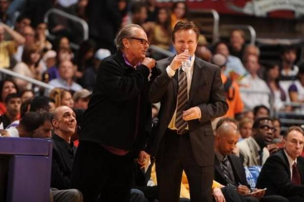 Actor Jack Nicholson, left, chats with Thunder coach Scott Brooks during Game 5 of the 2010 NBA playoffs at Staples Center.