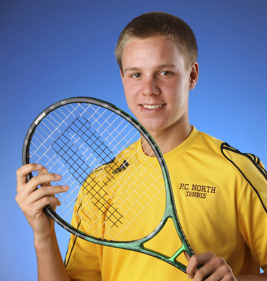Putnam City North junior Chris Haworth is The Oklahoman's boys All-City Tennis Player of the Year. PHOTO BY JIM BECKEL, THE OKLAHOMAN