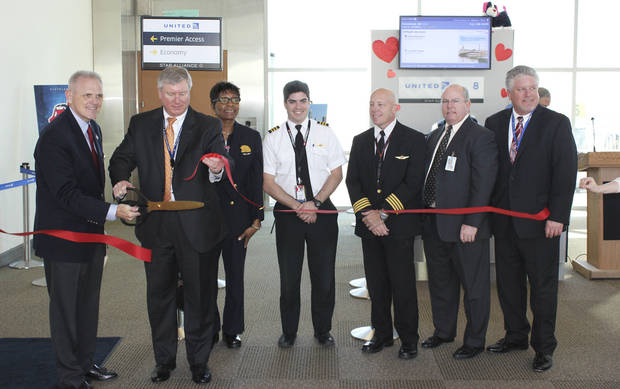 Officials on Thursday with Will Rogers World Airport and United Airlines celebrate the first nonstop flight between Oklahoma City and Cleveland.