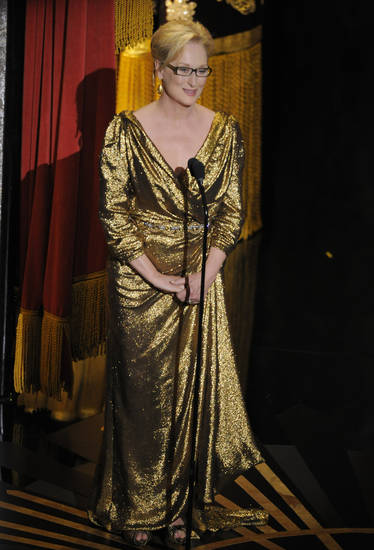 Meryl Streep speaks onstage during the 84th Academy Awards on Sunday, Feb. 26, 2012, in the Hollywood section of Los Angeles. (AP Photo/Mark J. Terrill) ORG XMIT: SHO320