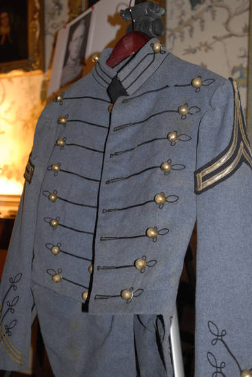 A Nov. 28, 2012 photo made in Onacock, Va., shows a West Point uniform jacket belonging to the late Chester deGavre that was found at a New Jersey beach by Donna Gugger of Holland, Pa. after Superstorm Sandy. On Wednesday, Nov. 28, 2012, Gugger returned the jacket to deGavre's widow Teresa at her home near Onancock, Va. (AP Photo/Eastern Shore News, Malissa Watterson)  NO SALES