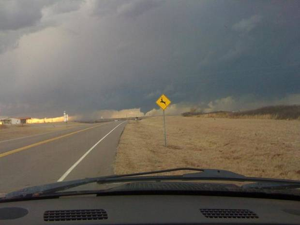 Tornado in Western Oklahoma.  User-submitted by Matt Spradlin.