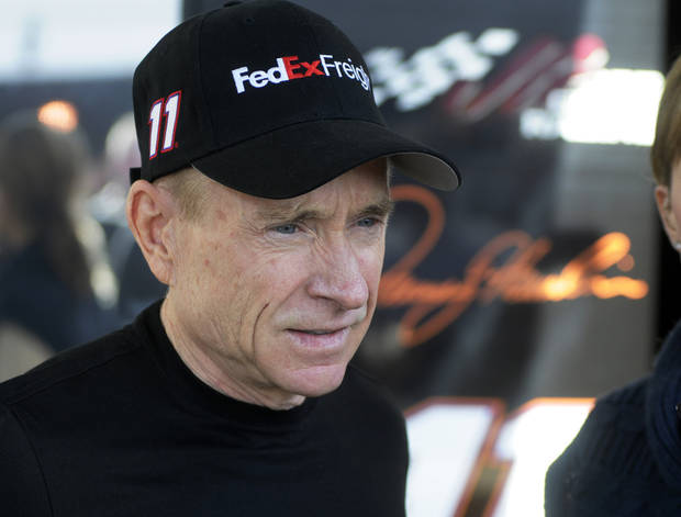 Sprint Cup driver, Mark Martin, speaks to the media prior to the STP 500 Sprint Cup  series auto race at Martinsville Speedway in Martinsville, Va., Sunday April 7, 2013.  Martin will drive car 11 for the injured Denny Hamlin. (AP Photo/Steve Helber)