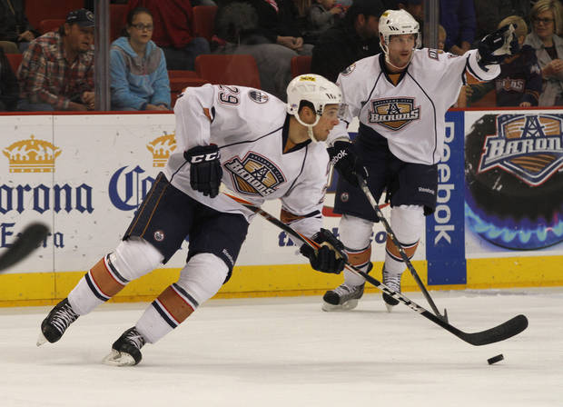 OKC's Chris VandeVelde (29) during a game between the Oklahoma City Barons and the Abbotsford Heat in Oklahoma City, Sunday, Jan. 15, 2012.  Photo by Garett Fisbeck, For The Oklahoman