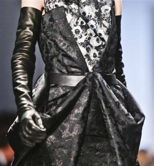 Fashion from the Vera Wang Fall 2013 collection is modeled on Tuesday, Feb. 12, 2013 in New York.  (AP Photo/Bebeto Matthews)