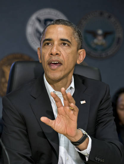 President Barack Obama makes a statement to the press during a visit to the Federal Emergency Management Agency (FEMA) for an update on the recovery from Hurricane Sandy that hit the northeast earlier this week, Saturday morning, Nov. 3, 2012, in Washington. (AP Photo/J. Scott Applewhite)